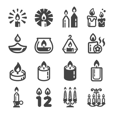 candle icon set,vector and illustration
