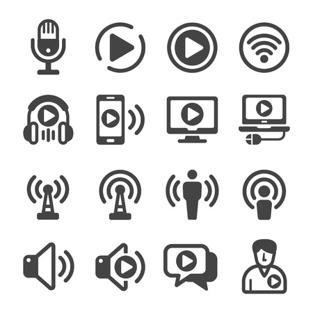 podcast icon set,vector and illustration