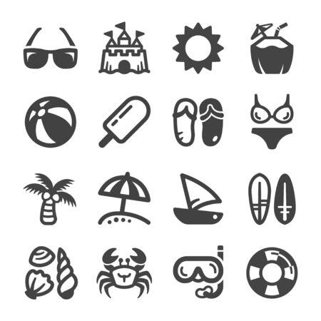 jeu d'icônes de plage, vecteur et illustration Vecteurs