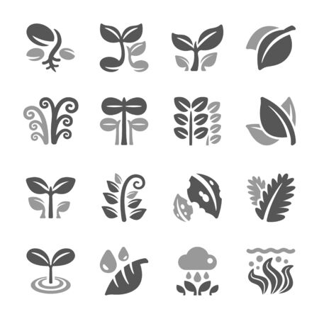 plant and leaf icon set,vector and illustration Ilustrace