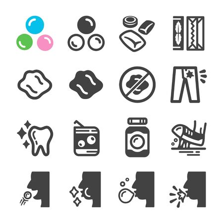 chewing gum icon set,vector and illustration 向量圖像