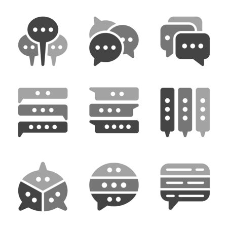 chat and speech bubble icon set,vector and illustration Çizim