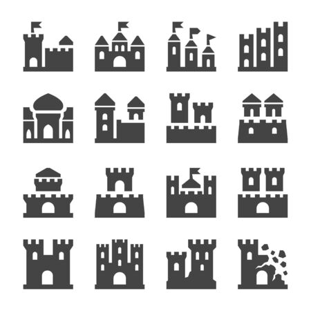 castle and citadel icon set,vector and illustration