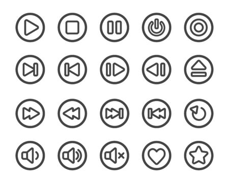 media player thin line button icon set,vector and illustration  イラスト・ベクター素材