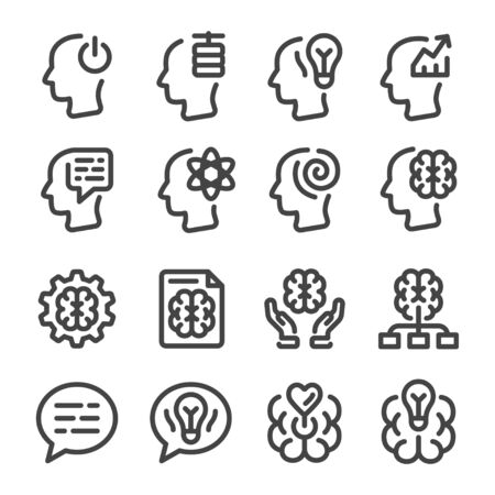 mind and brain thin line icon set,vector and illustration