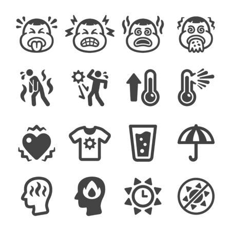 heat stroke symptom and prevention icon set,vector and illustration Illustration