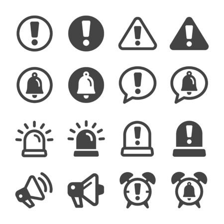 alert and reminder icon set,vector and illustration