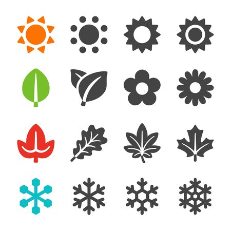 Vierjahreszeiten-Icon-Set, Vektor und Illustration