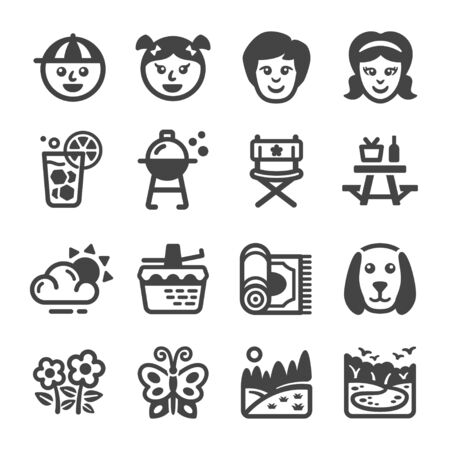 family picnic and relaxing icon set,vector and illustration