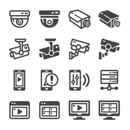 security camera and closed circuit television icon set,vector and illustration Illusztráció