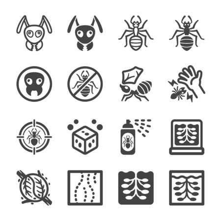ant icon set,pest and insect icon,vector and illustration