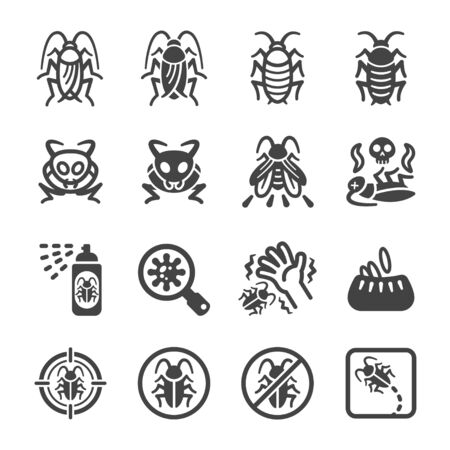 cockroach icon set,insect and pest icon,vector and illustration