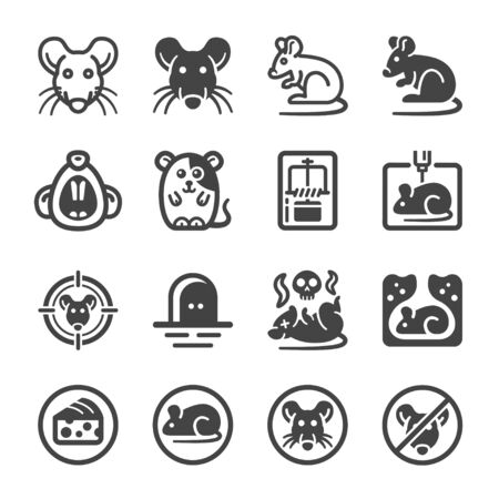 rat icon set,animal and pest icon,vector and illustration