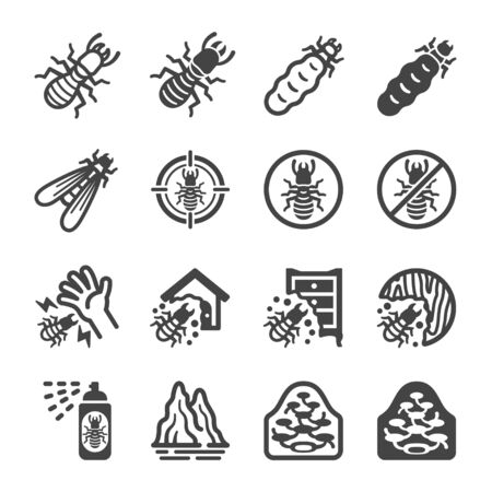 termite icon set,insect and pest icon,vector and illustration