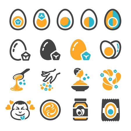 salted egg icon set,vector and illustration