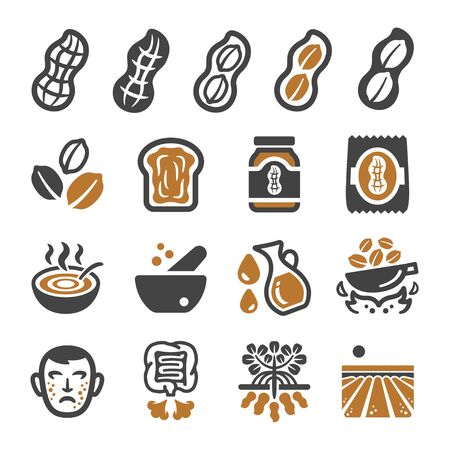 peanut and produce icon set,vector and illustration