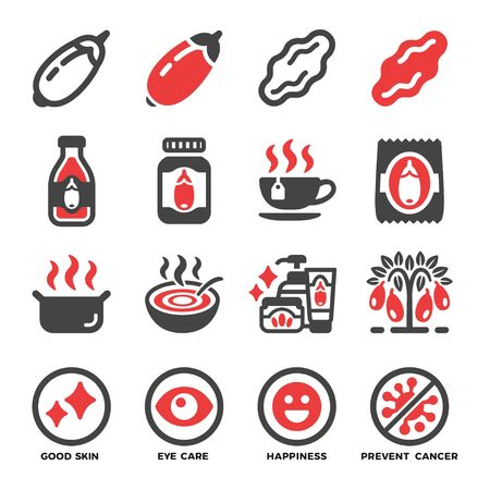 goji berry and produce icon set,vector and illustration
