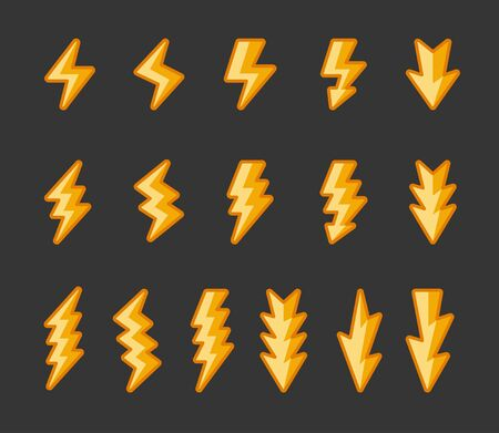 lightning and thunder icon set,filled outline shade,vector and illustration  イラスト・ベクター素材