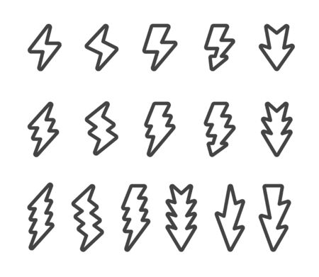 lightning and thunder thin line icon set,vector and illustration
