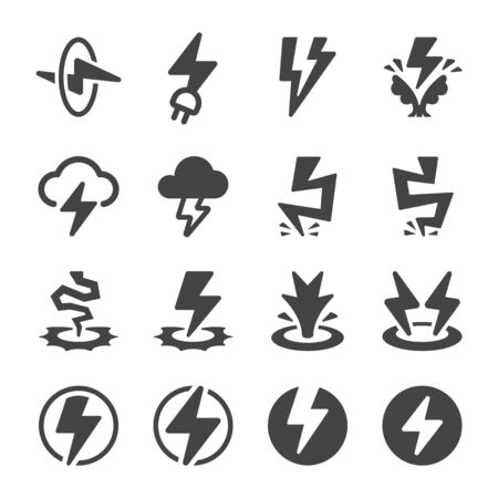 thunder and electricity icon set,vector and illustration  イラスト・ベクター素材