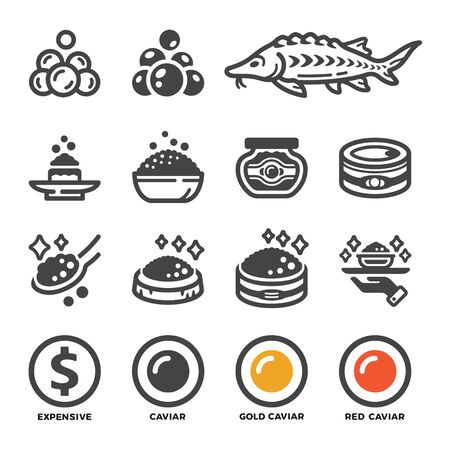 carviar and product icon set,vector and illustration Çizim