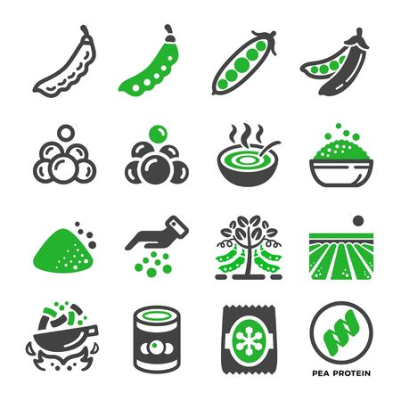 green pea and produce icon set,vector and illustration
