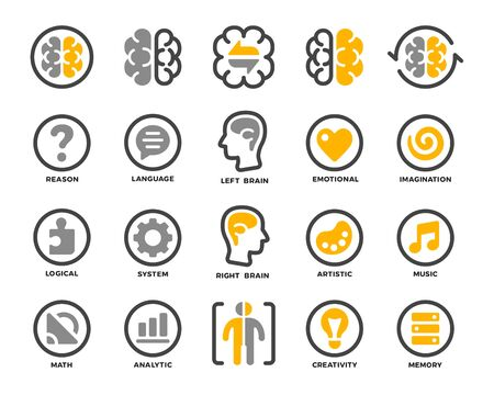 left and right of brain,hemispheres with function concept icon set,vector and illustration
