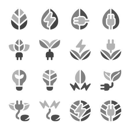 eco energy icon set style,vector and illustration