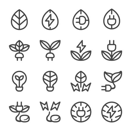 eco energy thin line icon set,vector and illustration