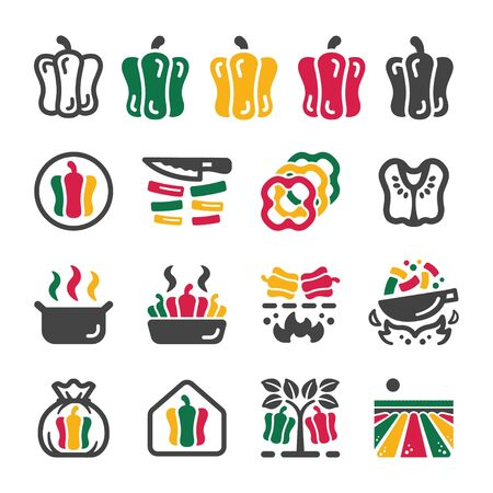 bell pepper and capsicum icon set,vector and illustration