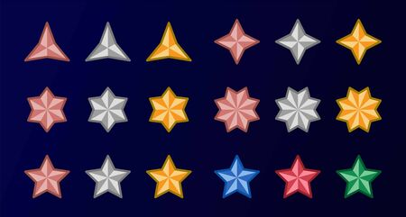 set of copper,silver and gold color with multipoint star icon,vector and illustration