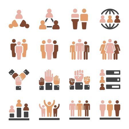 world population in diferent skin tone icon set,vector and illustration Ilustração