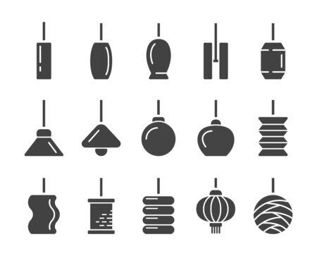 hanging lamp thin line icon,vector and illustration Ilustración de vector
