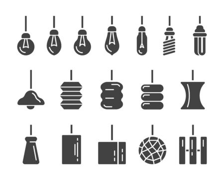 hanging lamp icon set,vector and illustration