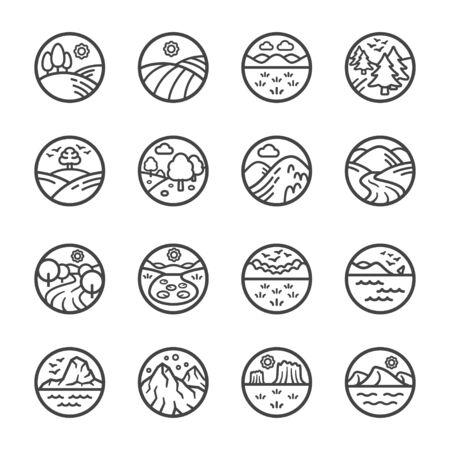 landscape thin line icon set,vector and illustration Ilustração