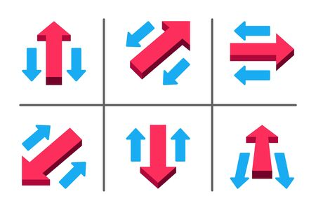 red main arrow directing in different way,business concept,illustration and vector set