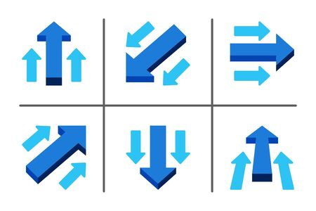 blue main arrow directing in same way with sub arrow,business concept,illustration and vector set Banque d'images - 130771980