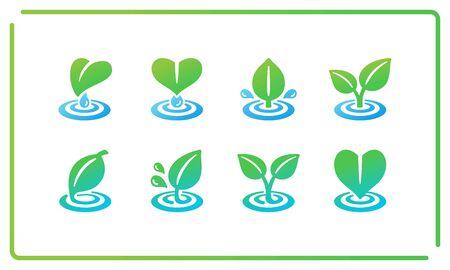 colorful and gradient leaf and ripple icon set,vector and illustration Ilustração