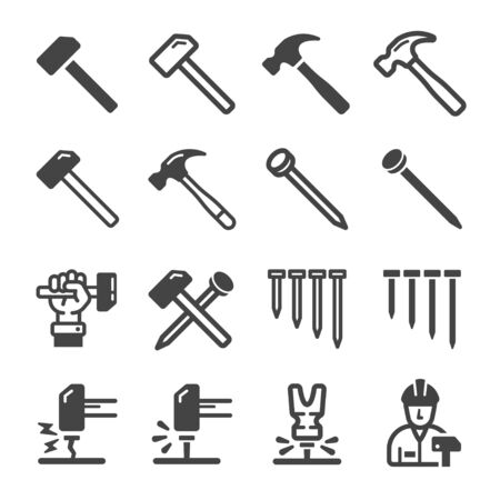 nail and hammer icon set,vector and illustration