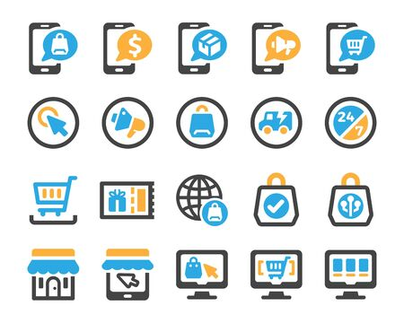 ecommerce and online shopping icon set,vector and illustration