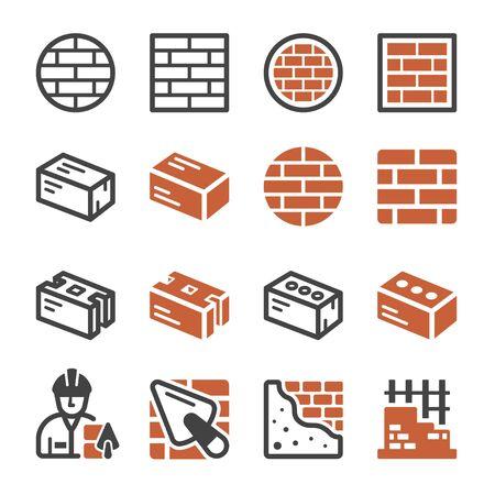 brick and construction icon set,vector and illustration Ilustração