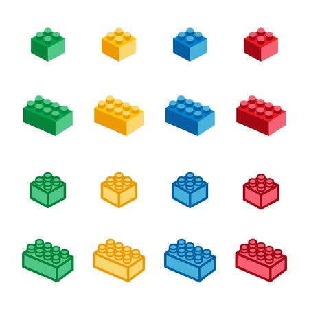 toy brick and toy block icon set,vector and illustration