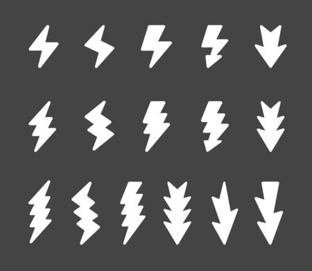 lightning and thunder icon set,vector and illustration