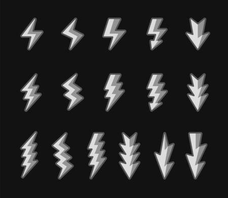 lightning and thunder icon set,filled outline shade,vector and illustration Ilustração