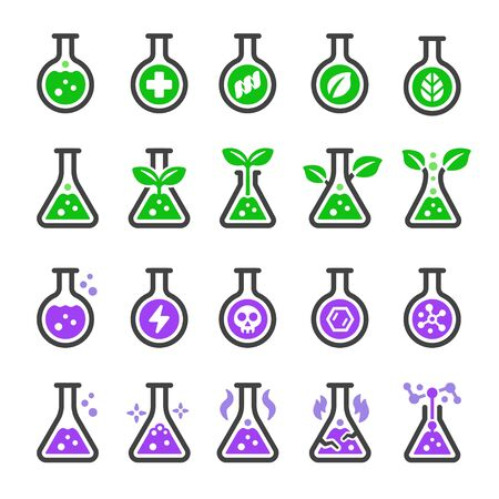 chemical and non chemical with laboratory glassware icon set,vector and illustration
