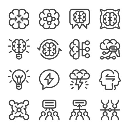brainstorm and business  situation icon set,vector and illustration