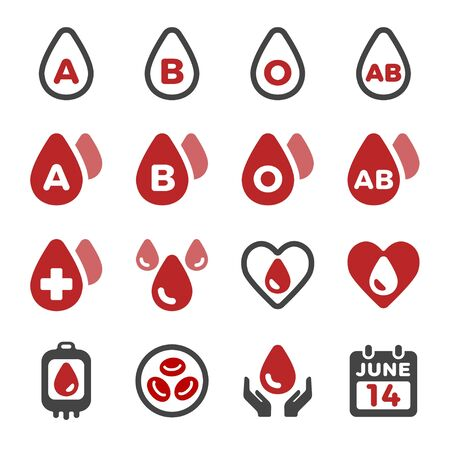 blood and blood type icon set,vector and illustration