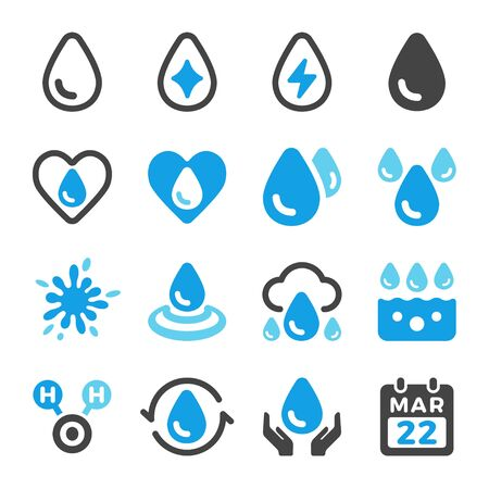 water and water drop icon set,vector and illustration