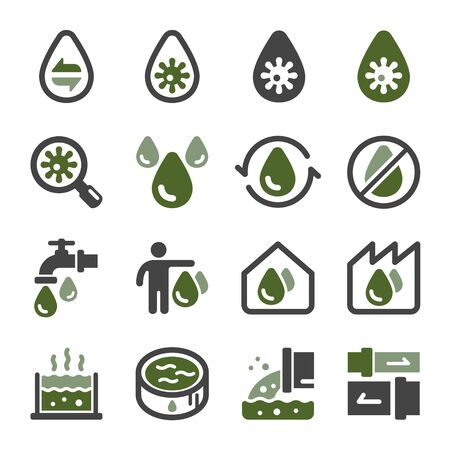 waste water and sewage icon set,vector and illustration Ilustração