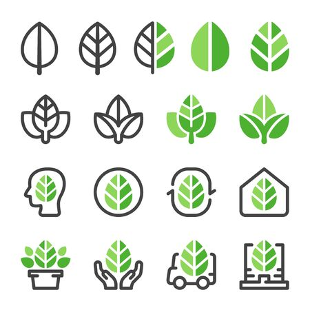 green leaf and eco concept icon set,vector and illustration